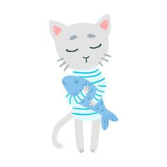 Cute cartoon cat holding a fish vector illustration