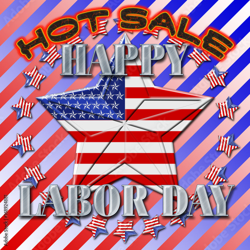 Happy Labor Day Hot Sale 3d Banner Sign In American Style Stars