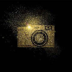 Camera gold glitter concept symbol illustration