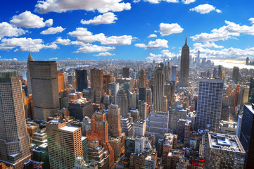 Colorful dramatic HDR image of the skyline of Midtown Manhattan, New York City during the summer, USA