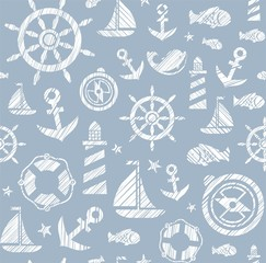 Nautical background, seamless, gray, vector. The attributes of a sea voyage on a gray background. White pictures drawn with diagonal hatching. Vector pattern.