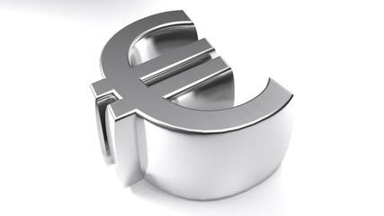 Euro symbol 3D chromed - 3D rendering