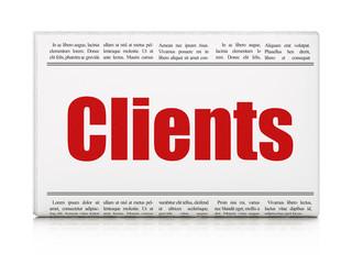 Finance concept: newspaper headline Clients