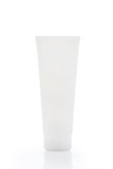 White lotion bottle, isolated on white background with clipping path.