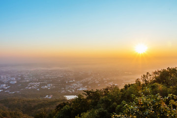 Mountain View Sunrise over Chiang Mai City, Thailand
