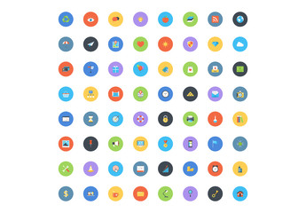 64 Bright Round Business and Tech Icons 1