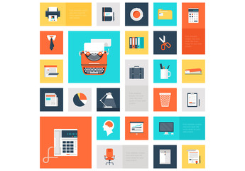 Colorful, Square Office and Productivity Icon Set 1