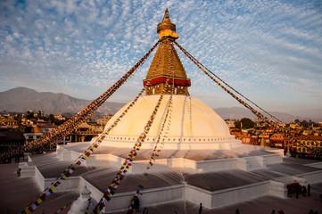 Boudhanath  Buddyjska stupa przed trzęsieniem ziemi w Nepalu
