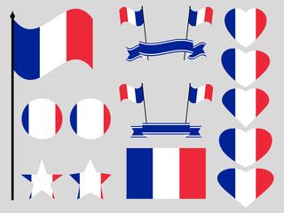 France flag set. Collection of symbols, flag in heart. Vector illustration