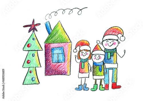 Happy Family With House And Christmas Tree Kids Drawing Mother