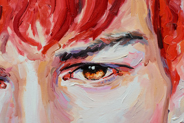 Painting male portrait oil on canvas detail