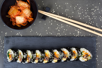 Kimbap korean rolls with stir fried beef