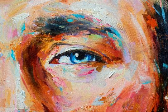 Painting male portrait oil on canvas detail