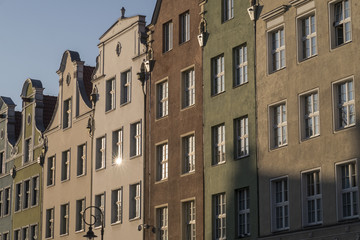 Sun reflects in the gables of houses in Gdansk/ Poland