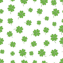 Happy four leaf clover. Vector background