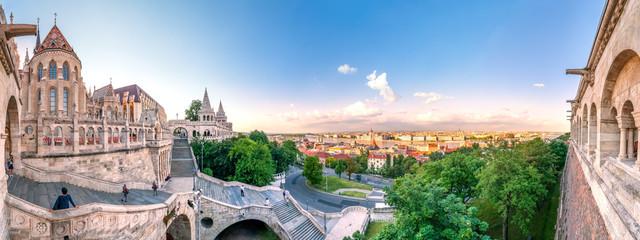 Fotorolgordijn Oost Europa Budapest, Fischerbastei und Blick über die Stadt