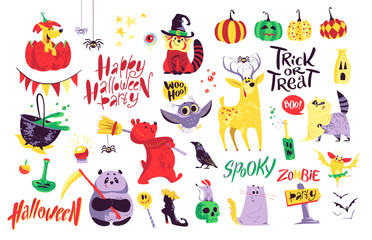 Collection of flat vector halloween traditional decoration elements isolated on white background. Funny spooky animals in costumes. Good for party invitation, flyer, poster, packaging designs.
