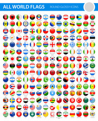 All World Flags - Vector Round Glossy Icons