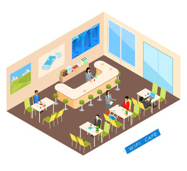 Wifi cafe in an isometric view. Girl waitress takes an order. Visitors dine and work on the Internet.