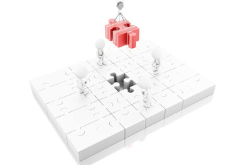 3d illustration. Business team building a puzzle jigsaw