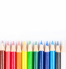 Coloured pencils isolated on the white background.