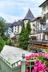 Arve river and buildings of Chamonix