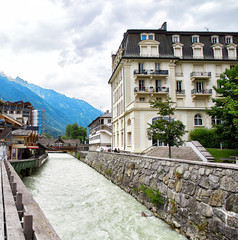 Arve river, buildings of Chamonix and Mont Blanc Massif