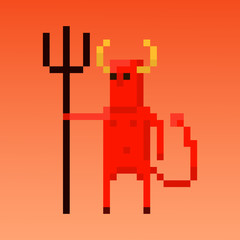 Pixel character devil for games and applications