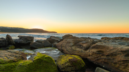 Rocky Shore Seaside Sunrise
