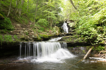 Waterfall in Pocono Mountains in Pennsylvania at Ricketts Glen