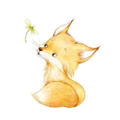 Cute fox and dragonfly