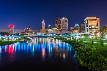 Skyline of Columbus, Ohio from Bicentennial Park bridge at Night