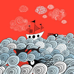 Marine graphics with ship and squid