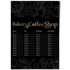menu cafe coffee bakery restaurant template design hand drawing graphic 06