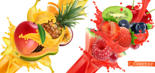 Fruit burst. Splash of juice. Sweet tropical fruits and mixed berries. Mango, banana, pineapple, papaya, strawberry, raspberry, blueberry, watermelon. 3d realistic vector icon set