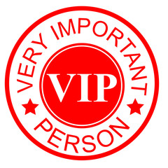 Red Circle Rubber Stamp Effect : VIP