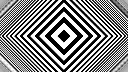 Hypnotic Rhythmic Movement Black And White stripes. 3d rendered