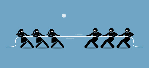 Man vs Woman in Tug of War. Illustration artwork depicts feminist, gender equality, strength, and power of male versus female.