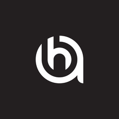 Initial lowercase letter logo ah, ha, h inside a, monogram rounded shape, white color on black background