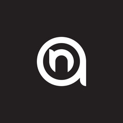 Initial lowercase letter logo an, na, n inside a, monogram rounded shape, white color on black background