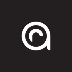 Initial lowercase letter logo ar, ra, r inside a, monogram rounded shape, white color on black background