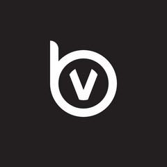 Initial lowercase letter logo bv, vb, v inside b, monogram rounded shape, white color on black background