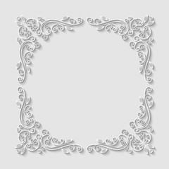 Abstract decorative 3d floral frame. Vector Illustration