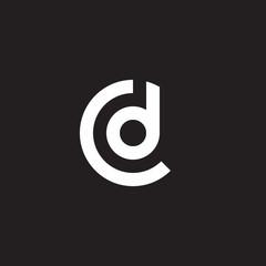Initial lowercase letter logo cd, dc, d inside c, monogram rounded shape, white color on black background