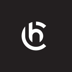 Initial lowercase letter logo ch, hc, h inside c, monogram rounded shape, white color on black background