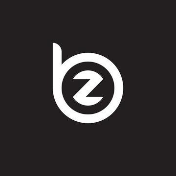 Initial lowercase letter logo bz, zb, z inside b, monogram rounded shape, white color on black background