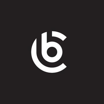 Initial lowercase letter logo cb, bc, b inside c, monogram rounded shape, white color on black background