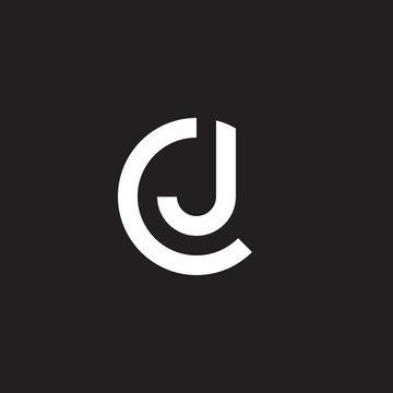Initial lowercase letter logo cj, jc, j inside c, monogram rounded shape, white color on black background