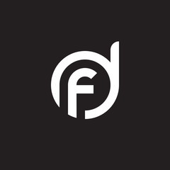 Initial lowercase letter logo df, fd, f inside d, monogram rounded shape, white color on black background