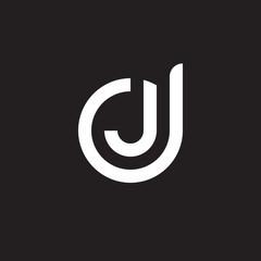 Initial lowercase letter logo dj, jd, j inside d, monogram rounded shape, white color on black background